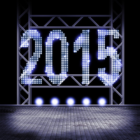 View to a stage with illuminated year 2015 photo