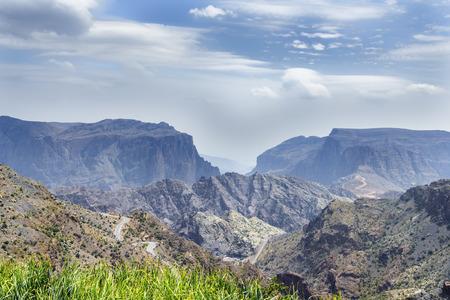 Image of landscape Jebel Akhdar Saiq Plateau in Oman Stock Photo