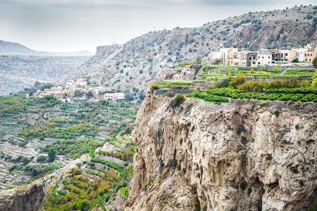 landschap van Saiq Plateau en het terras teelt in Oman Stockfoto