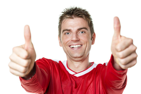 Image of soccer player with red shirt and thumbs up Stock fotó