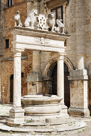 montepulciano: Image of fountain in Montepulciano, Tuscany, Italy Stock Photo