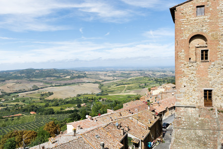 montepulciano: View from Montepulciano Tuscany, Italy, to lanscape with blue sky in summer Stock Photo