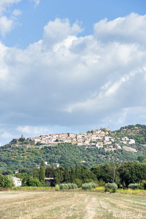 View to the town of Montepulciano in Tuscany, Italy photo