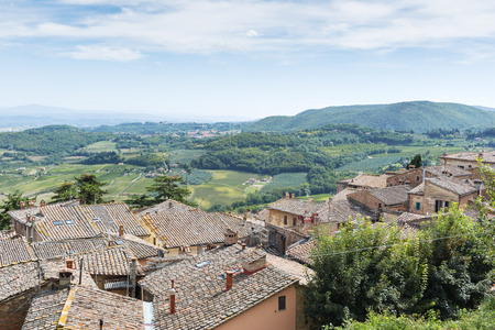 montepulciano: View from Montepulciano Tuscany, Italy, to landscape with blue sky in summer