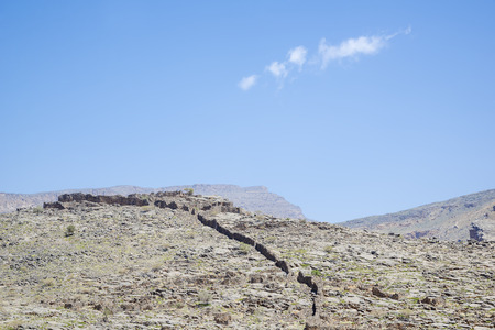 fractures: Image of Jebel Akhdar mountains and blue sky in Oman