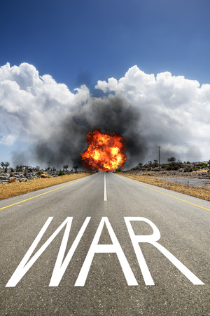 Image of a road with the text WAR photo