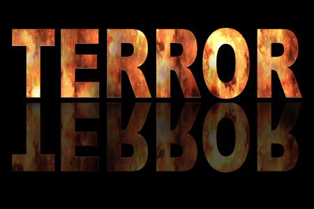 terror: Illustration with text TERROR and fire on black background