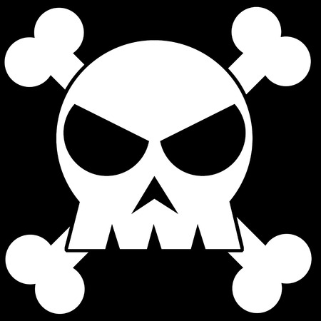 Illustration of a skull in black and white illustration