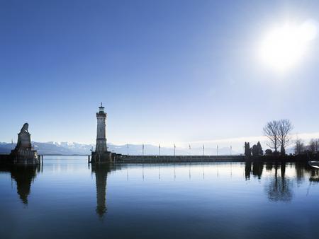 Image of port of Lindau in backlight photo