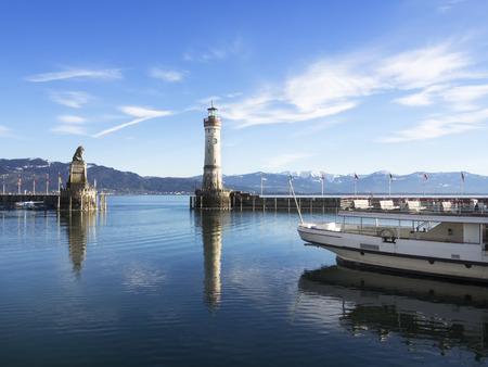 Image of port of Lindau with passenger ship photo