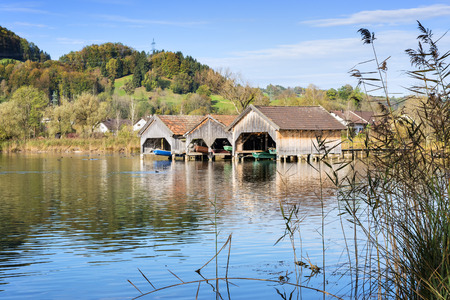 fishing cabin: Image of boathouses and reed at lake Kochelsee in Bavaria, Germany