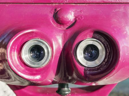 ocular: Closup of the ocular of a pink telescope