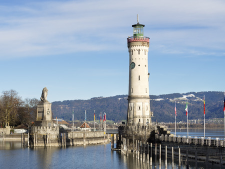 Image of port of Lindau with blue sky and white clouds photo