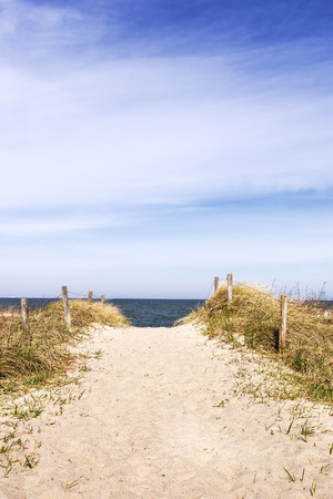 Image of a sandy path through the dunes to the beach of the Baltic Sea