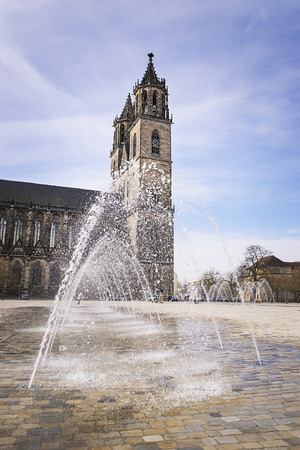 Cathedral in Magdeburg, Saxony-Anhalt Germany with water fountain photo
