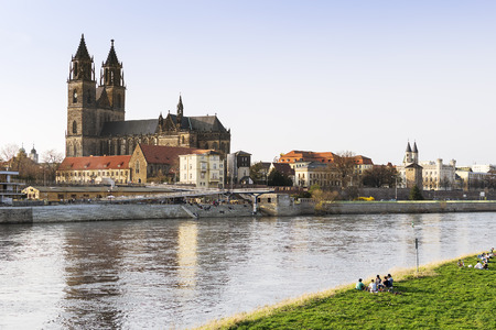 View of the city of Magdeburg and the river Elbe in Saxony Anhalt Germany photo