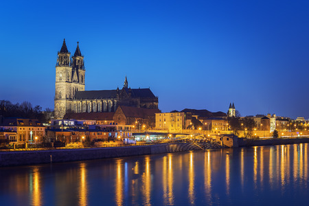 Night scene city Magdeburg with river Elbe in Saxony Anhalt Germany