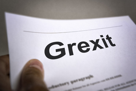 mistrust: Man holding an treaty with title Grexit