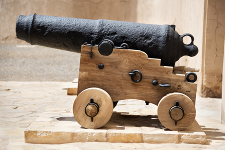 Image of a historic cannon in Oman, middle east Stock Photo