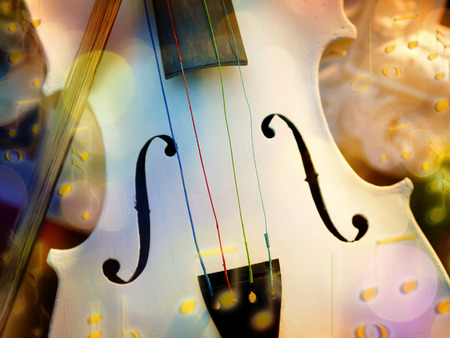 fiddlestick: White violin with fiddlestick and bokeh