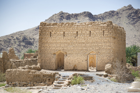 architectural tradition: Historic ruins in the town Tanuf in Sultanate Oman, middle east