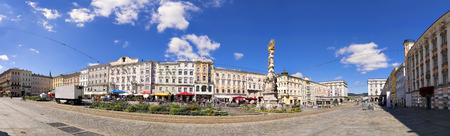 hauptplatz: Panorama of the main square in Linz, Austria in sunny weather in summer