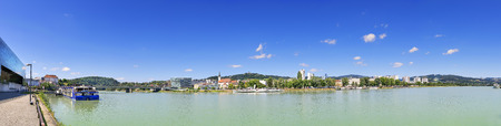 linz: Panorama of Linz with the river Danube in Austria with free space