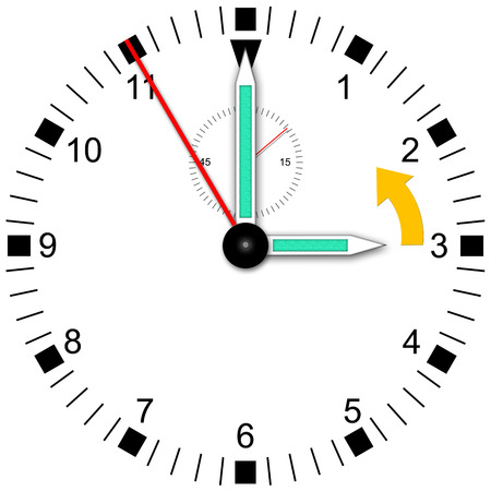 Illustration of a watch for change daylight saving time Stock Photo