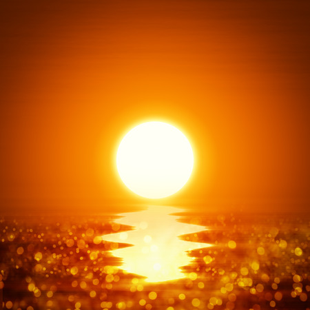 orange sunset: Illustration of a yellow orange sunset with ocean Stock Photo