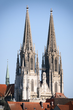 regensburg: Image of the towers of cathedral in Regensburg, Bavaria, Germany