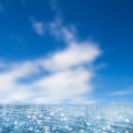 golden dusk: Illustration of a blue background image with ocean