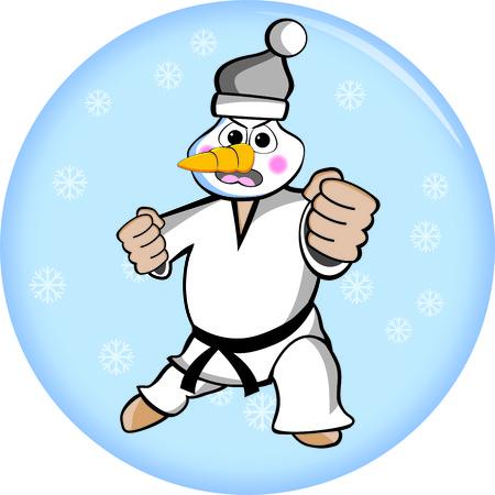 Illustration of an martial arts Taekwondo snowman