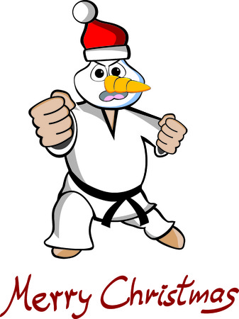tae: Illustration of an martial arts Taekwondo snowman with text Merry Christmas