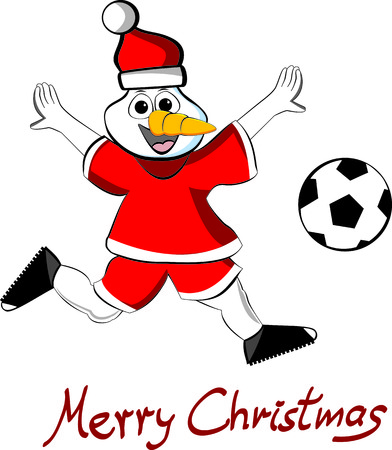 Illustration of a soccer snowman with ball and text Merry Christmas