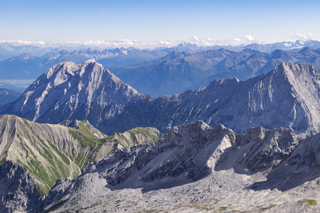 zugspitze mountain: Landscape on the mountain Zugspitze in Bavaria, Germany in the summer Stock Photo