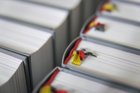 Image closeup of hymnbooks in a church in Bavaria, Germany Stock Photo