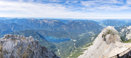zugspitze mountain: Panorama image from the mountain Zugspitze in Bavaria, Germany in summer