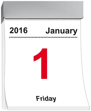enero: ilustraci�n vectorial de una l�grima de calendario con la hoja 01 de enero 2016