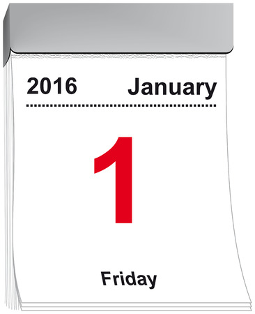 year january: vector illustration of a tear off calendar with sheet January 1, 2016