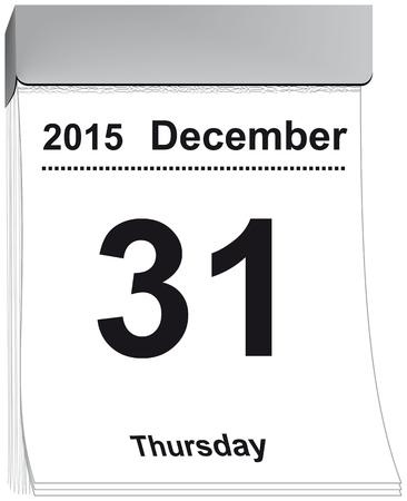 detachable: vector illustration of a tear off calendar with sheet December 31, 2015