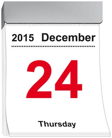 detachable: vector illustration of a tear off calendar with sheet December 24, 2015
