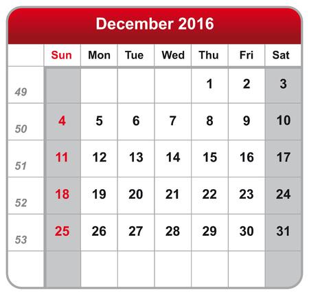 calendario diciembre: Ilustración vectorial del calendario diciembre 2016