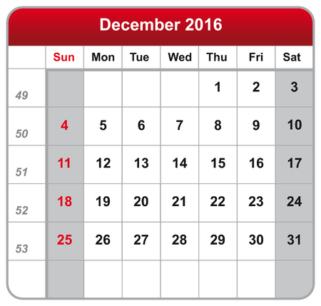 december: Vector illustration of calendar December 2016 Illustration
