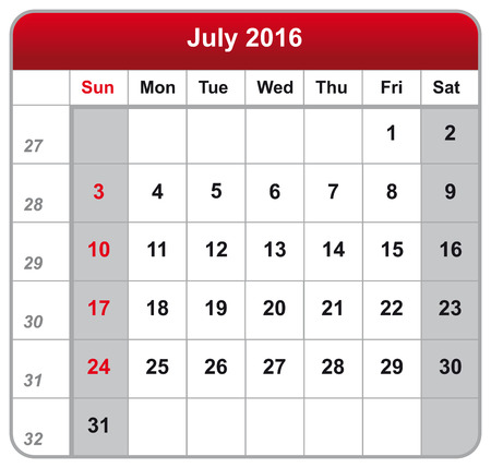 calender icon: Vector illustration of calendar July 2016 Illustration