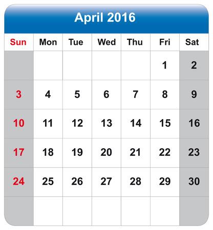 4월: Vector illustration of calendar April 2016 일러스트