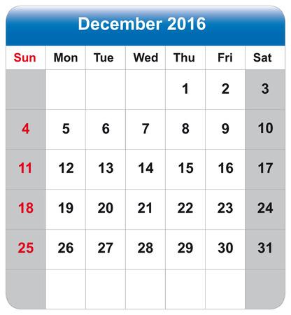 december: Vector illustration of calendar December 2016 Illustration