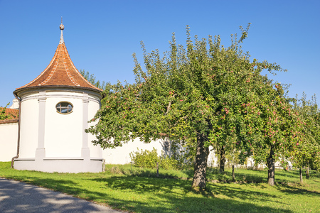 monastery nature: Wall of monastery Holzen with apple tree in Holzen, Bavaria, Germany in summer Stock Photo