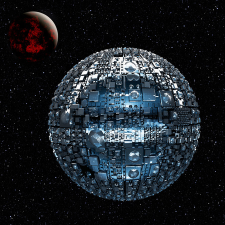 space wars: Illustration of a fictional universe with space battle ship and planets Stock Photo
