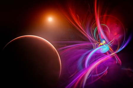 fictional: Illustration of a fictional universe space with planets Stock Photo