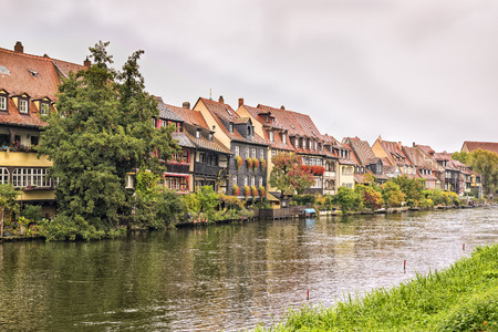 little: Image of Little Venice in Bamberg, Germany, Franconia with river Regnitz on a cloudy day